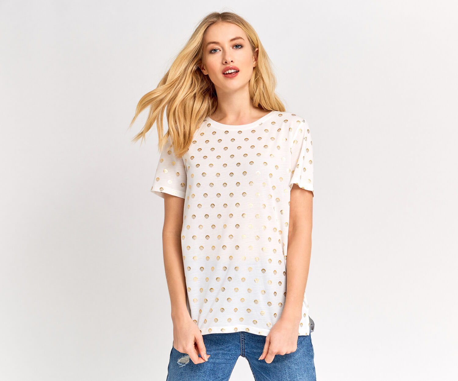 Oasis, GOLD SPOT TEE Off White 1