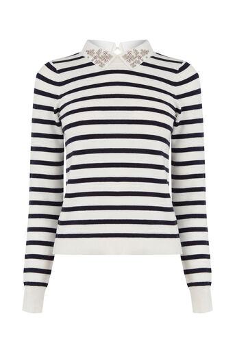 Oasis, Stripe embellished collar knit Multi 0