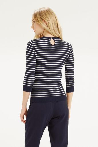 Oasis, Embellished Stripe Neck Top Multi 3
