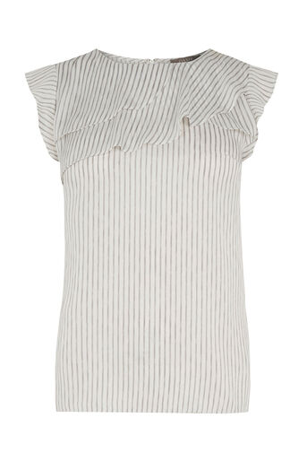 Oasis, STRIPE FRILL TOP Multi Natural 0