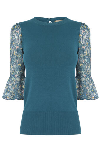 Oasis, SHIPWRECKED LACE SLEEVE KNIT Turquoise 0