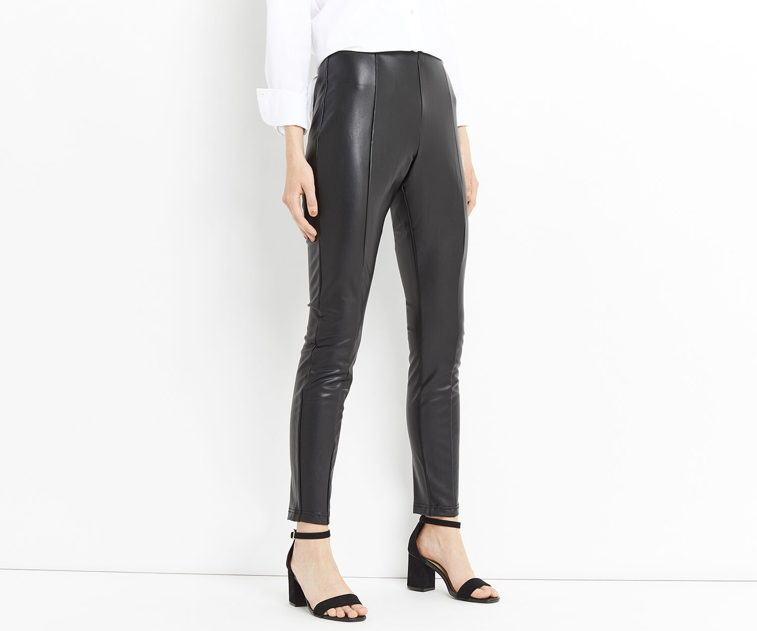 Oasis, FAUX LEATHER STRETCH LEGGINGS Black 1