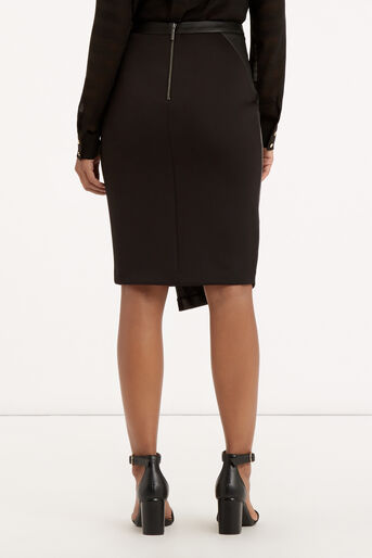 Oasis, Faux Leather Wrap Skirt Black 3