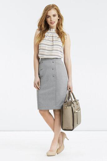 Oasis, Petite Workwear Skirt Pale Grey 2