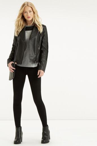 Oasis, Penny Leather Biker Jacket Black 2