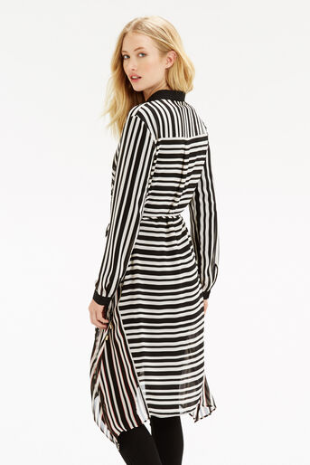 Oasis, Stripe Longline Shirt Multi Black 3