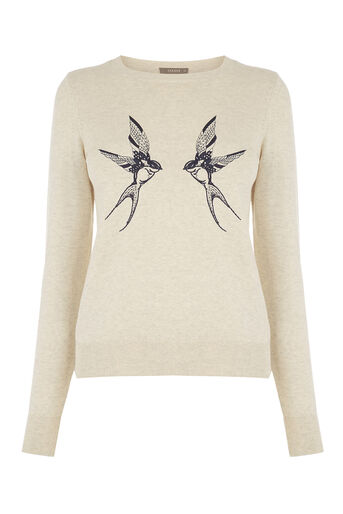 Oasis, Bird embroidered jumper Mid Neutral 0
