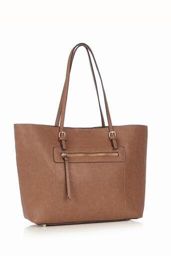 Oasis, Zip Detail Tote Bag Tan 2