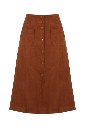 Oasis, Suedette A Line Midi Skirt Tan 0
