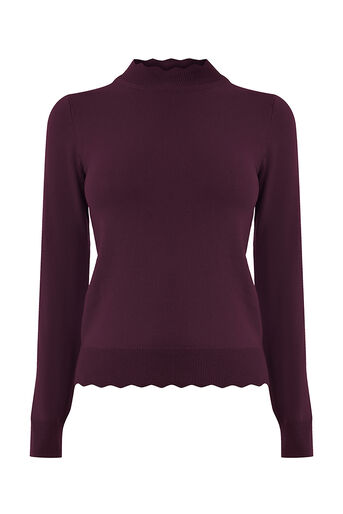 Oasis, MINI SCALLOP TURTLE NECK KNIT Burgundy 0