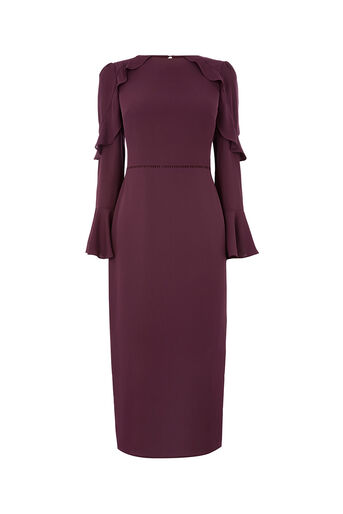 Oasis, FLUTED SLEEVE SHIFT DRESS Berry 0