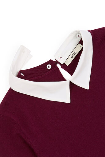 Oasis, Collar Knit Sweater Burgundy 4