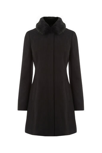 Oasis, SOPHIA FAUX FUR COLLAR COAT Black 0