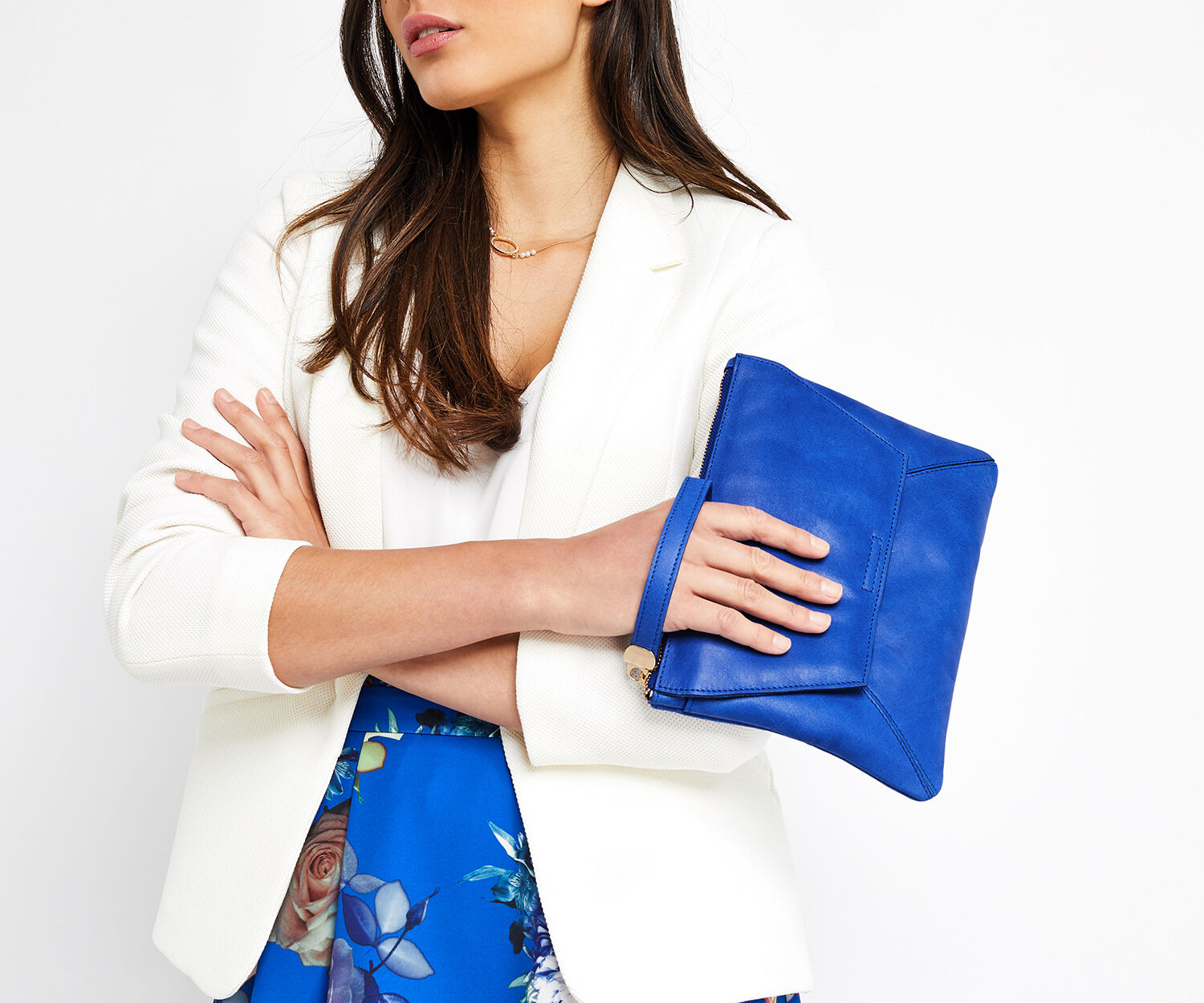 Oasis, LEATHER CLUTCH Rich Blue 1