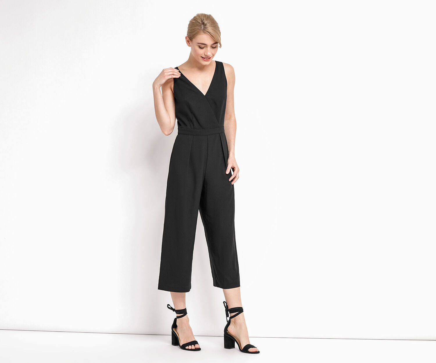 Oasis, CROP WIDE LEG JUMPSUIT Black 1