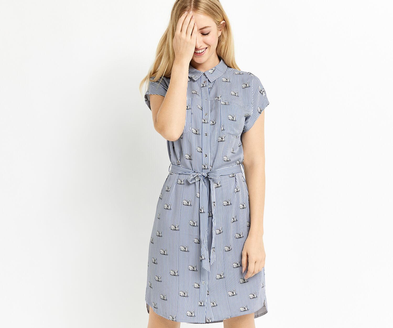 Oasis, STRIPE SWAN SHIRT DRESS Multi Blue 1