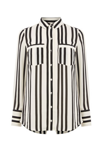 Oasis, LINCOLN STRIPE SHIRT Black and White 0