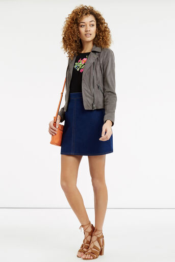 Oasis, Embroidered Floral Tie Side T- Black 2