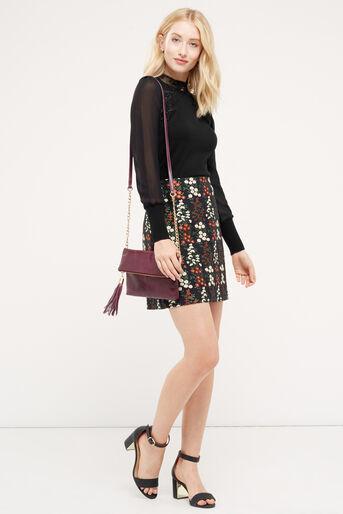 Oasis, Lace & sheer sleeve formal kni Black 2