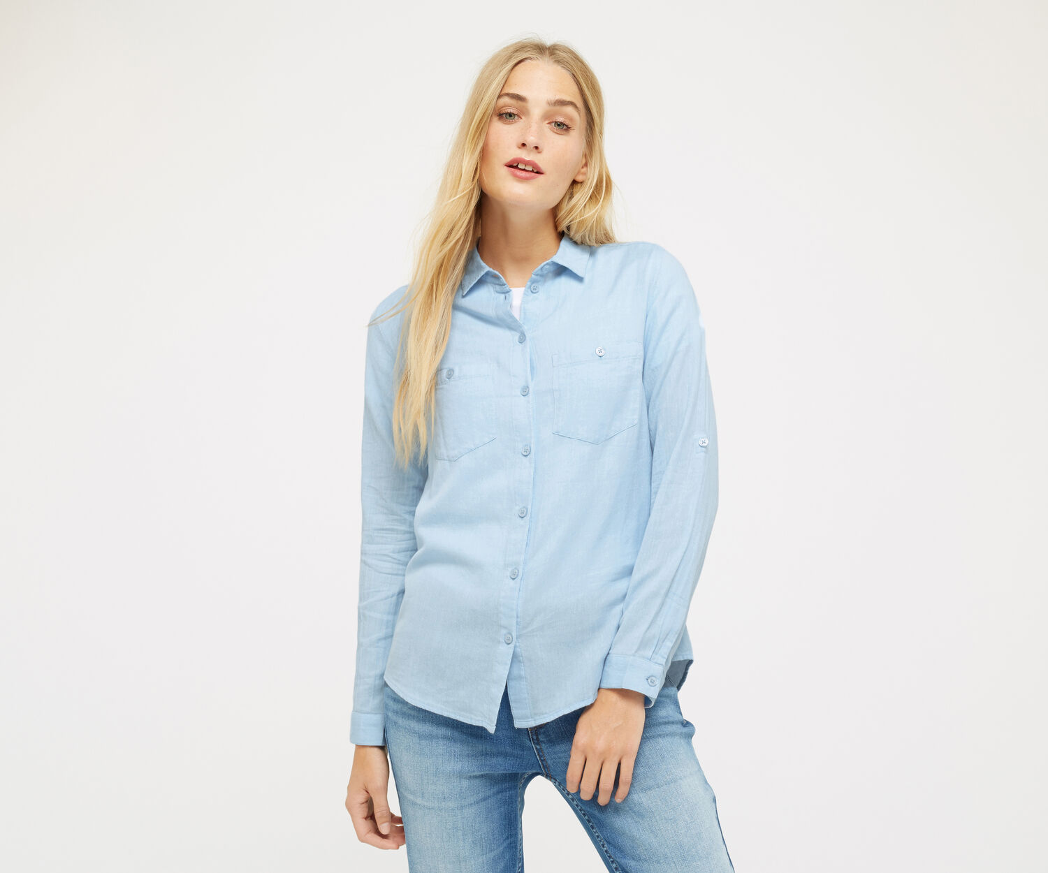 Oasis, UTILITY SOFT COTTON SHIRT Light Blue 1