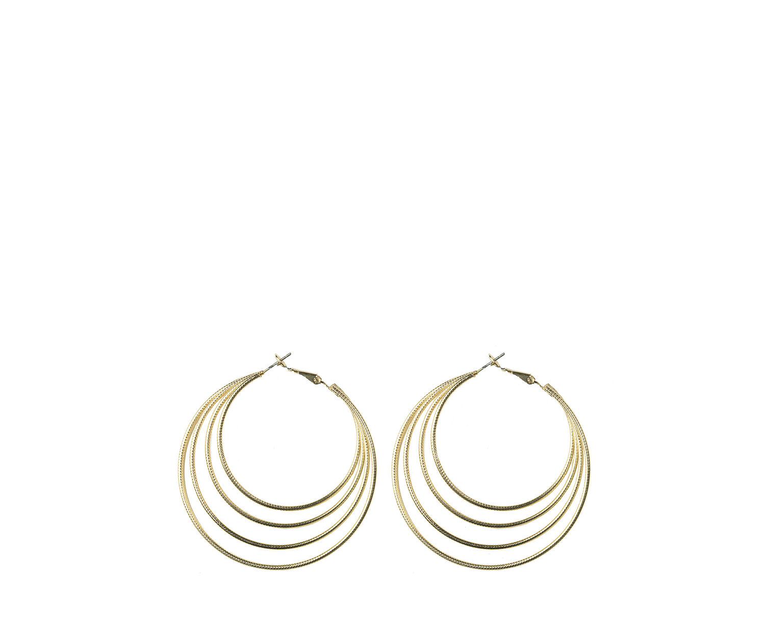 Oasis, LARGE MULTI ROW HOOPS Gold 1
