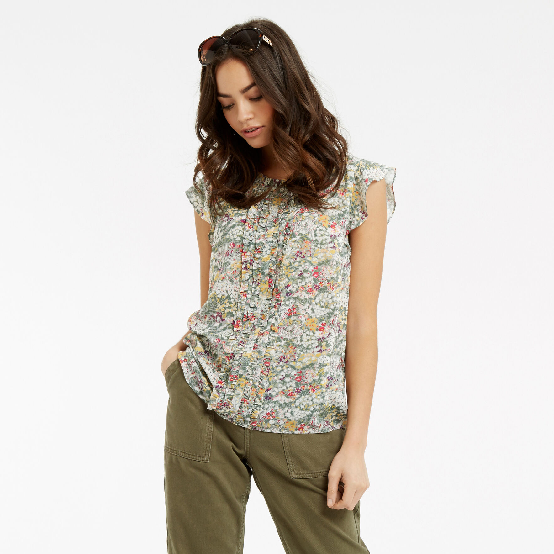 Oasis, Ditsy Frill Top Multi Grey 1