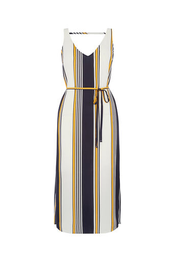 Oasis, Stripe Midi Slip Dress Multi Blue 0