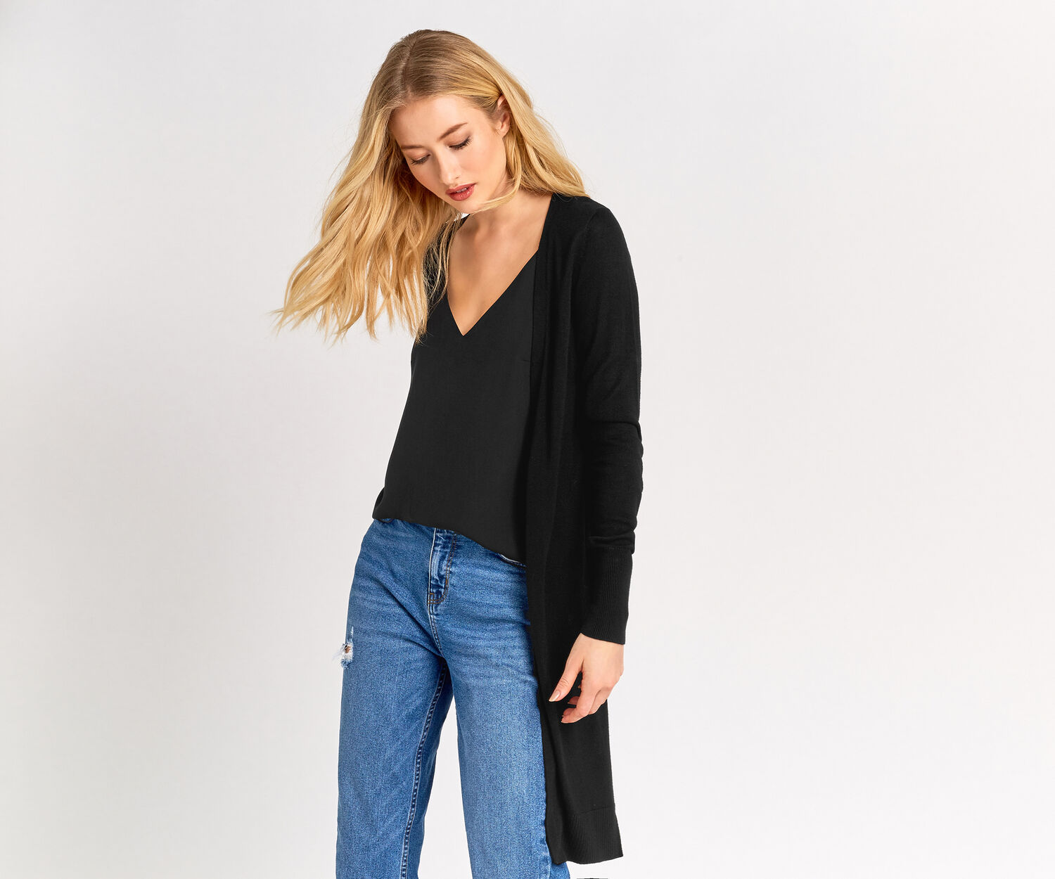 Oasis, Matte and Shine Cardigan Black 1
