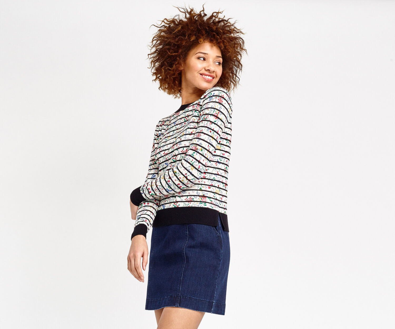 Oasis, Printed stripe knit Multi Black 1