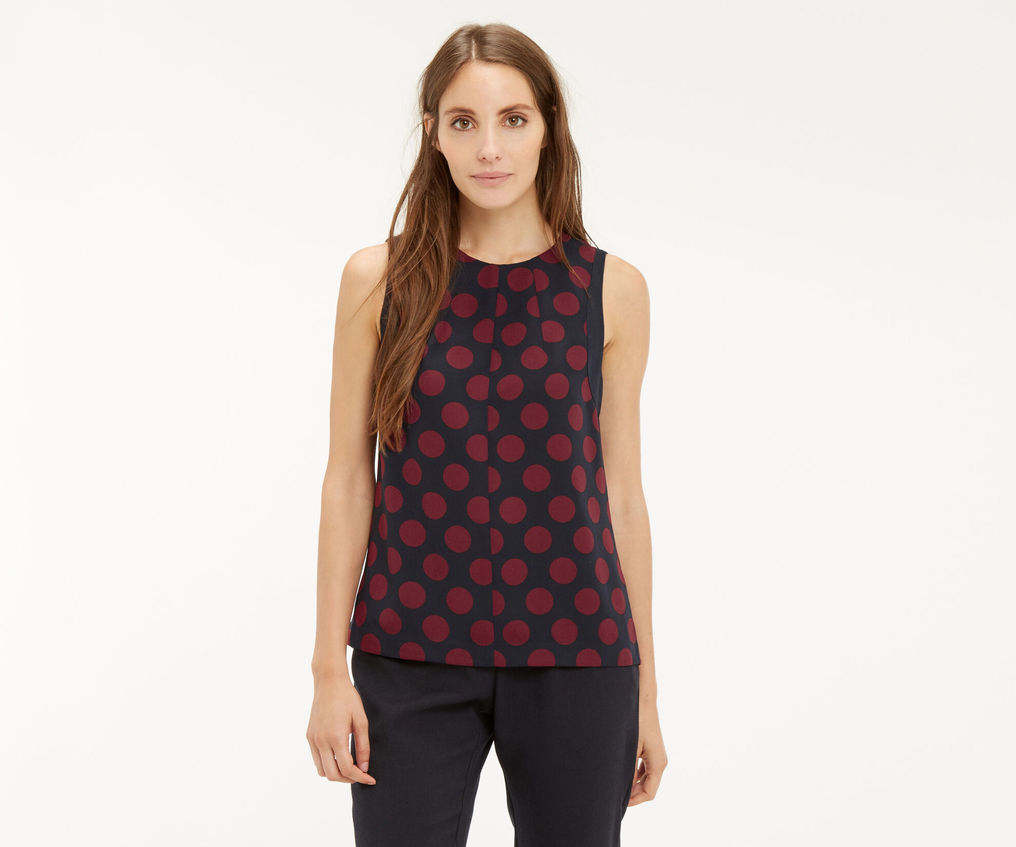 Oasis, SPOTTED SLEEVELESS TOP Multi Blue 1