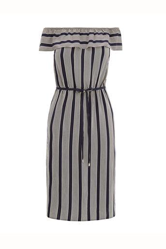 Oasis, Viscose Stripe Ruffle Dress Multi 0
