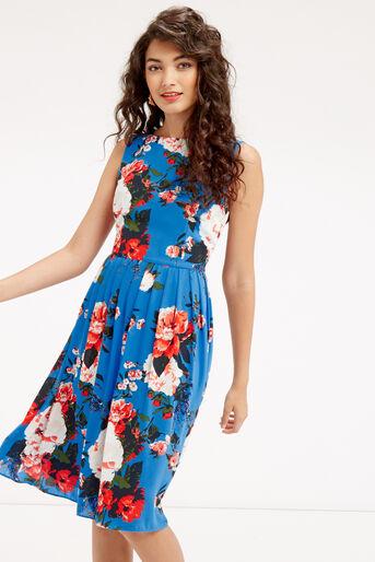 Oasis, LONG ROSE DRESS Mid Blue 1