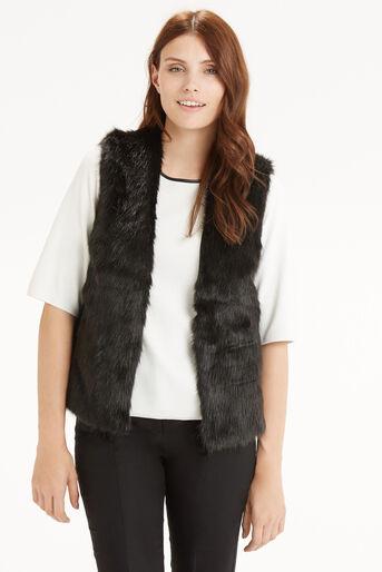 Oasis, Short Glam Fur Gillet Black 1