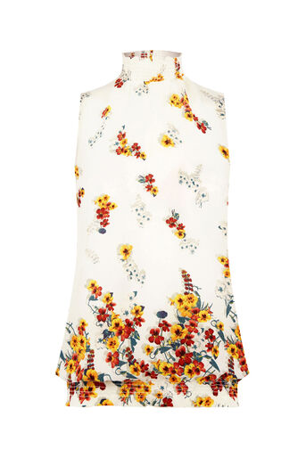 Oasis, BORDER FLORAL HIGH NECK SHELL Multi Natural 0