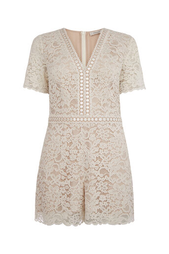 Oasis, LACE PLAYSUIT Off White 0