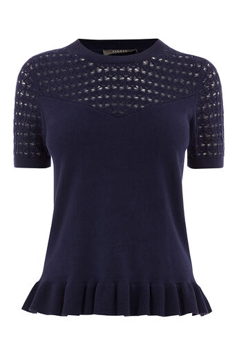 Oasis, SWEETHEART PEPLUM TOP Navy 0