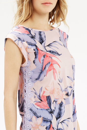 Oasis, TROPICAL FANCY T-SHIRT Multi Pink 4
