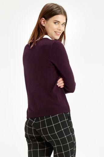 Oasis, Collar Knit Sweater Burgundy 3