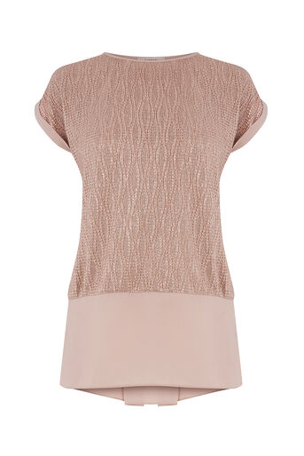 Oasis, DOUBLE LAYER CRINKLE TEE Rose Gold 0