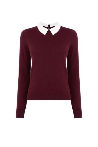 Oasis, Collar Knit Sweater Burgundy 0