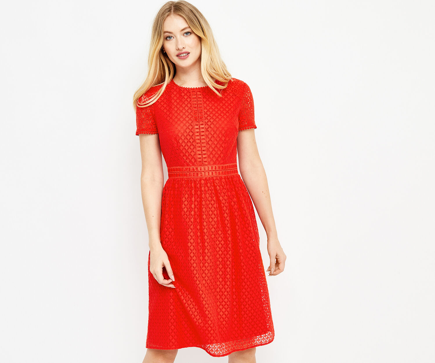 Oasis, LONGER LACE SKATER DRESS Mid Red 1