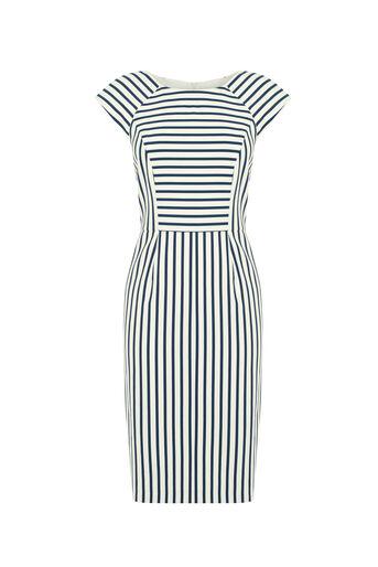 Oasis, Stripe Pencil Dress Multi Blue 0