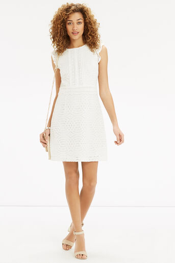 Oasis, Geo Patched Lace Dress Off White 2