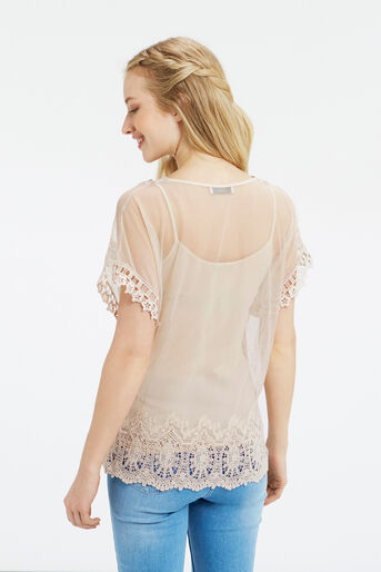 Oasis, Mesh Lace Top Off White 3
