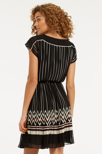 Oasis, Pleat Stripe Dress Multi Black 3