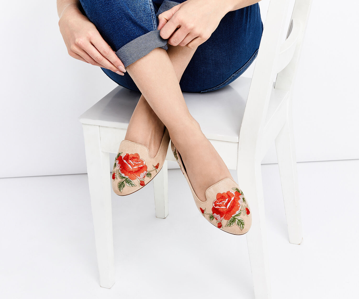 Oasis, EMBROIDERED SLIPPER Mid Neutral 1