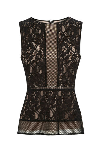 Oasis, Lace Peplum Top Black 0
