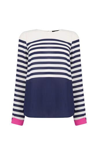 Oasis, Stripe Colour Block Top Multi 0