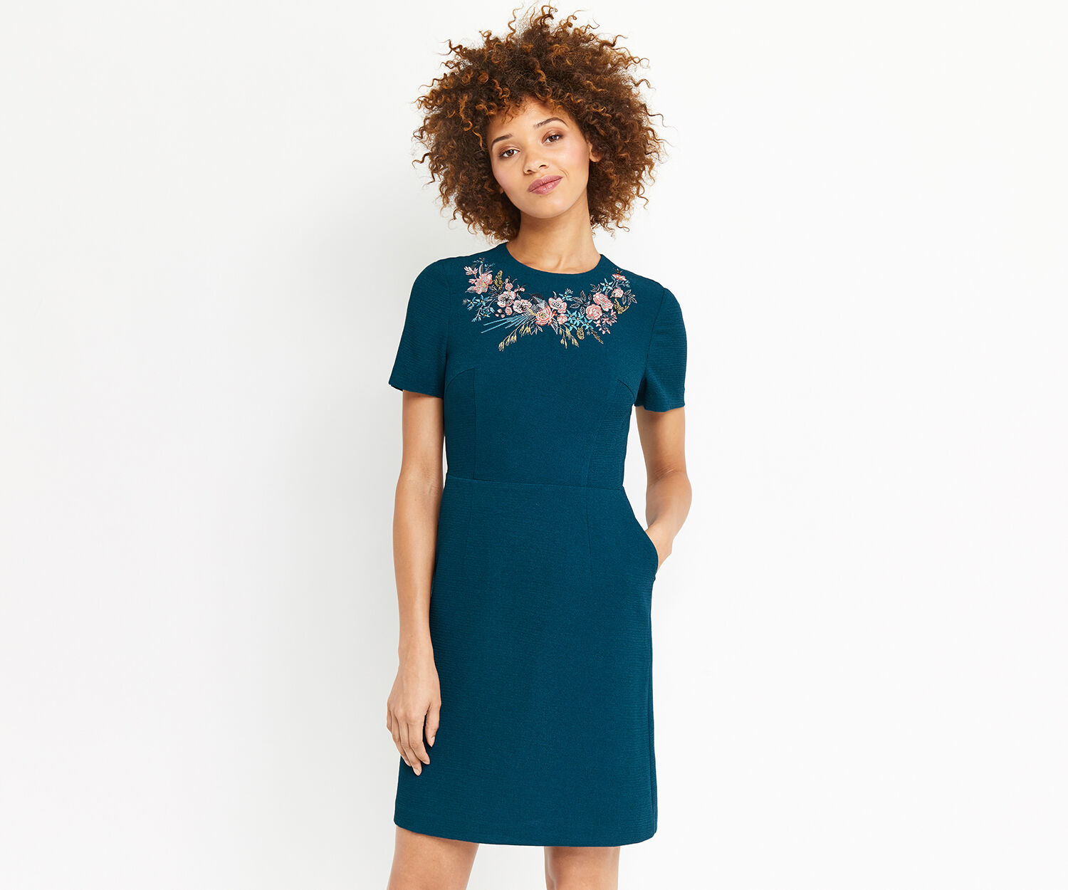 Oasis, AVA EMBROIDERED DRESS LONG Teal Green 1