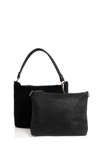 Oasis, HONOUR SUEDE PATCHED HOBO BAG Black 3